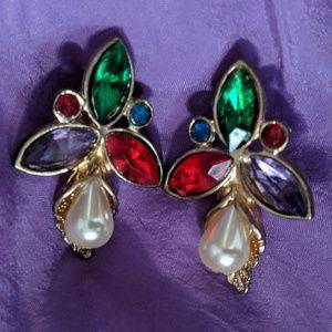 Dazzling multicolored gemstone earrings